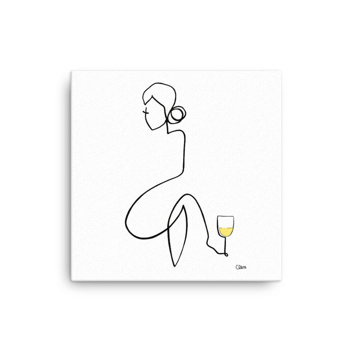Nr. 3 auf Leinwand mit Weißwein #frauenamweinen - JUDITH CLARA women drawn out of one line