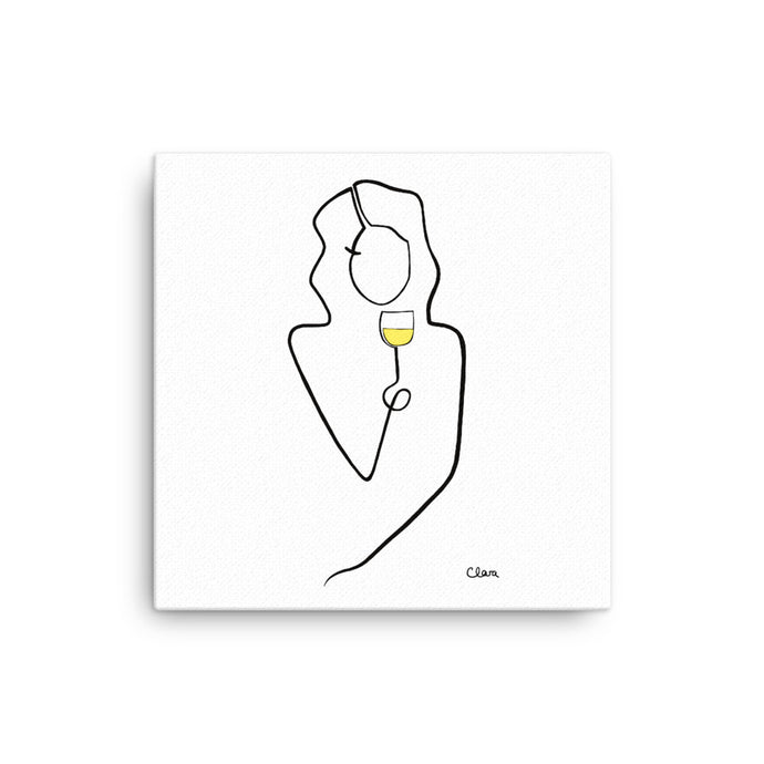 Nr.1 auf Leinwand mit Weißwein #frauenamweinen - JUDITH CLARA women drawn out of one line