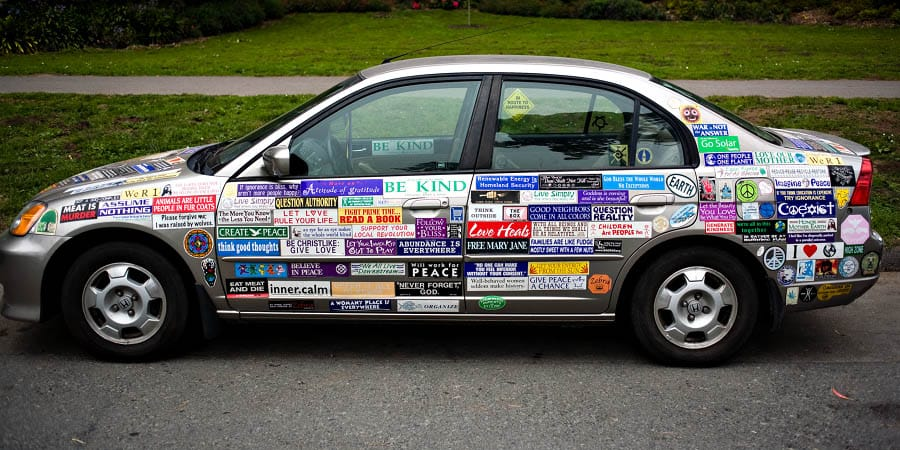 People love putting personalized business stickers on their cars