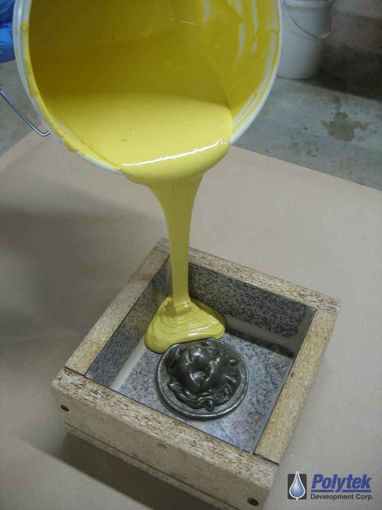 Pouring rubber into a mould is one step in the creation of promotional lacrosse balls