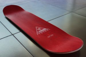 Screen printed skateboards usually utilize simple graphics with two colors.