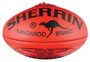 Placing your brand name in place of the SHERRIN logo on a football is another of many marketing ideas for promotional sports