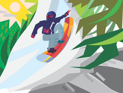 An example of a creative snowboard graphic design.