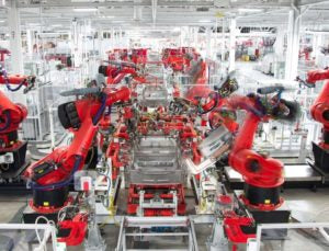 Tesla production plant in Fremont.