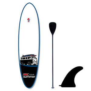 Custom Pepsi Max promotional paddle board with fin paddle branded
