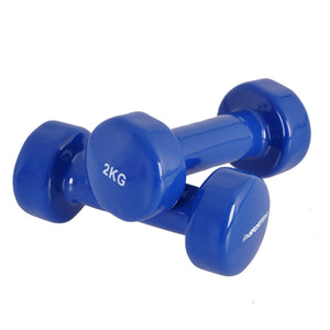 blue 2 kg custom branded promotional dumbbells