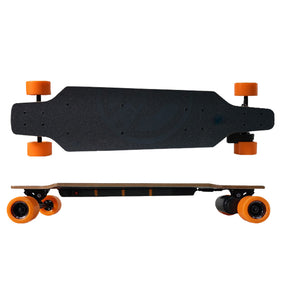 Black promotional electric skateboard front side view branded