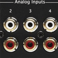 Analog audio RCA interconnect jacks - red and white