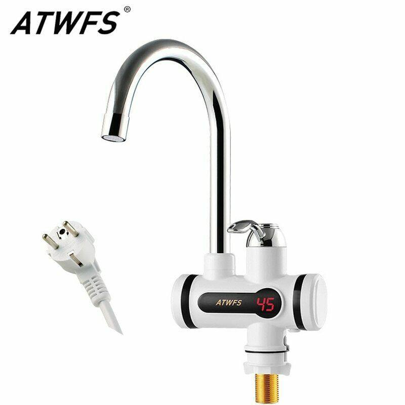 ATWFS Electric Kitchen Water Heater Tap Instant Hot Water Heater Faucet Tankless - asmpick