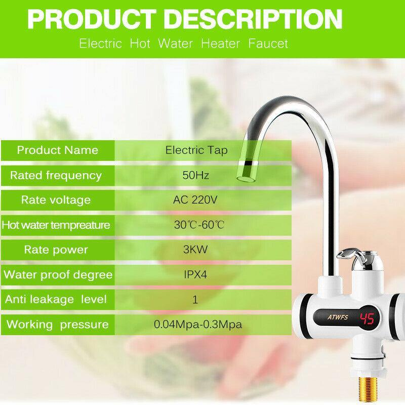 ATWFS Electric Kitchen Water Heater Tap Instant Hot Water Heater Faucet Tankless