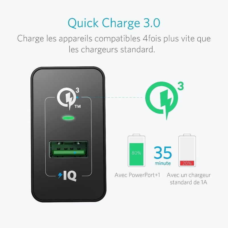 Anker Quick Charge 3.0, 18W USB Wall Charger UK/EU Plug - asmpick