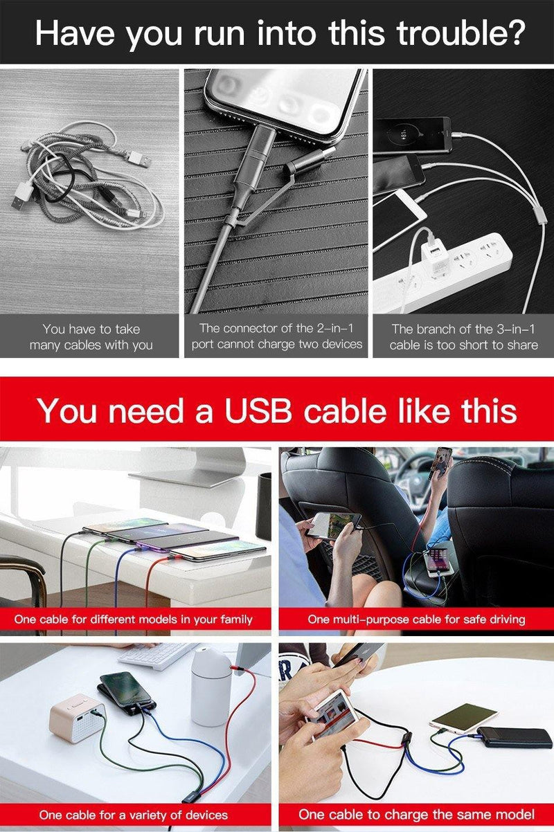 Baseus 3 in 1 USB Cable for Mobile Phone Micro Type C Charging Cord - asmpick