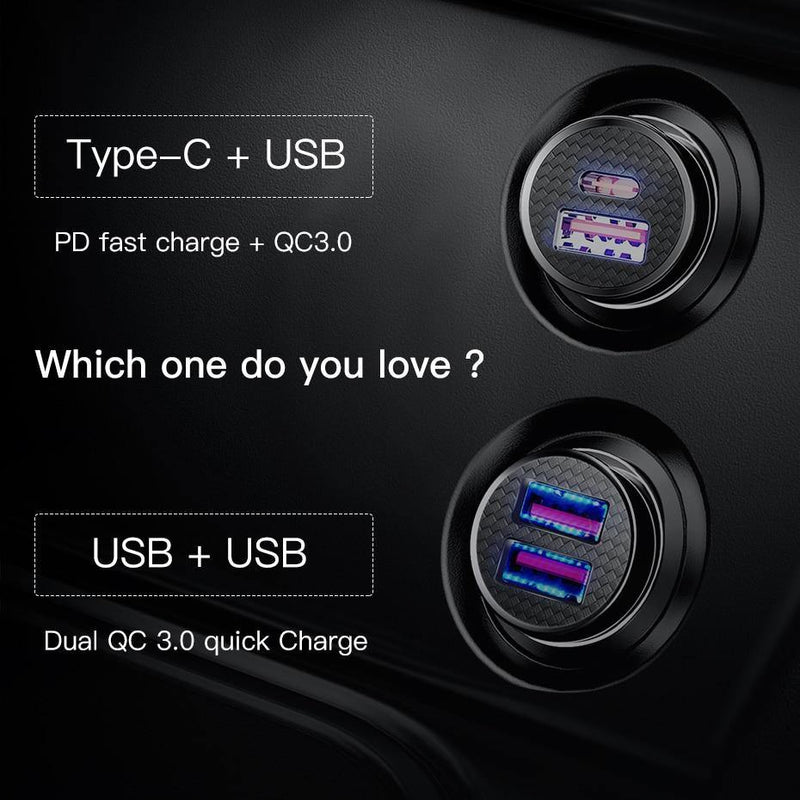 Baseus 30W Quick Charge 4.0 3.0 USB Car Charger Fast PD USB C Phone - asmpick