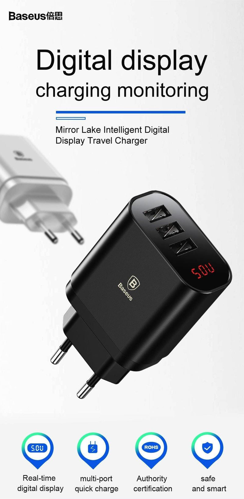 Baseus Digital Display Charging USB Charger 3.4A Max Fast Charger.