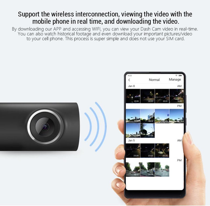 Xiaomi 70mai Dash Cam 1S Smart Car DVR Camera Wifi APP Voice Control 1080P HD Night Vision - asmpick