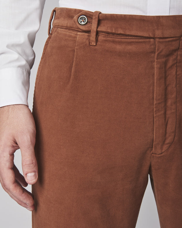 Will Pleated Stretch Moleskin Trousers
