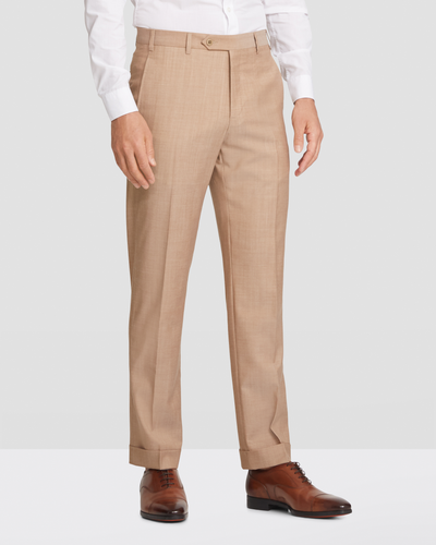 Devon Slub Weave Flat Front Wool Trousers