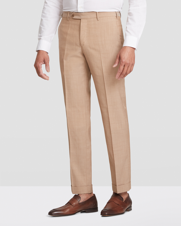 Curtis Slub Weave Slim Fit Flat Front Wool Trousers