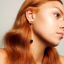 "Load image into Gallery viewer, The ""M"" Convertible Earrings Black tourmaline Gold"