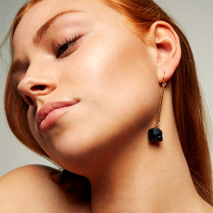 Keep Me Hanging Black Tourmaline Earrings
