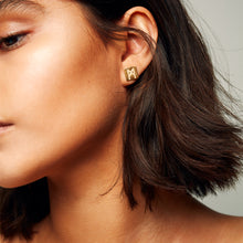 "Load image into Gallery viewer, The ""M"" Convertible Earrings Gold Pyrite"