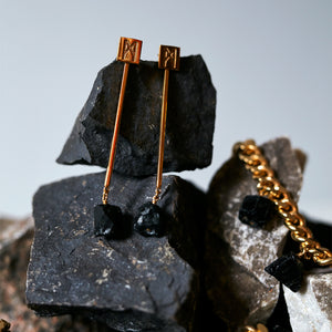 "The ""M"" Convertible Earrings Black tourmaline Gold"