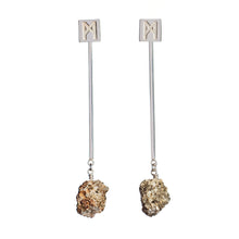 "Load image into Gallery viewer, The ""M"" Convertible Earrings Calcite pyrite"