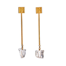 "Load image into Gallery viewer, The ""M"" Convertible Earrings Gold Quartz"