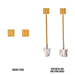 "The ""M"" Convertible Earrings Gold Quartz"