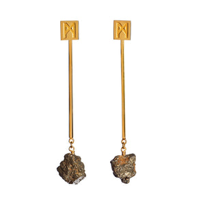 "The ""M"" Convertible Earrings Gold Pyrite"