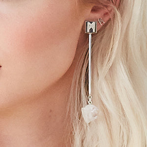 "The ""M"" Convertible Earrings Silver Quartz"