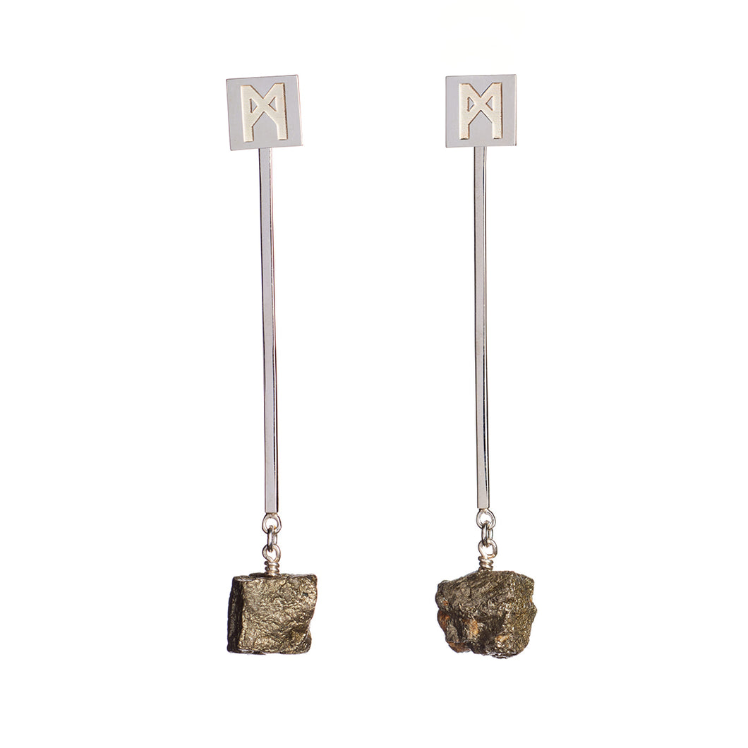 "The ""M"" Convertible Earrings Silver Pyrite"