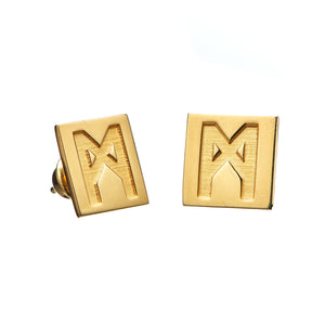 "The ""M"" Convertible Earrings Gold Calcite Pyrite"