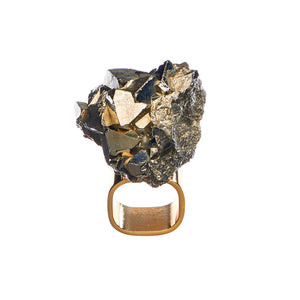 Roxx Pyrite Crystal Ring