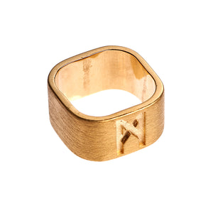 Signature Ring Mens Gold Brushed