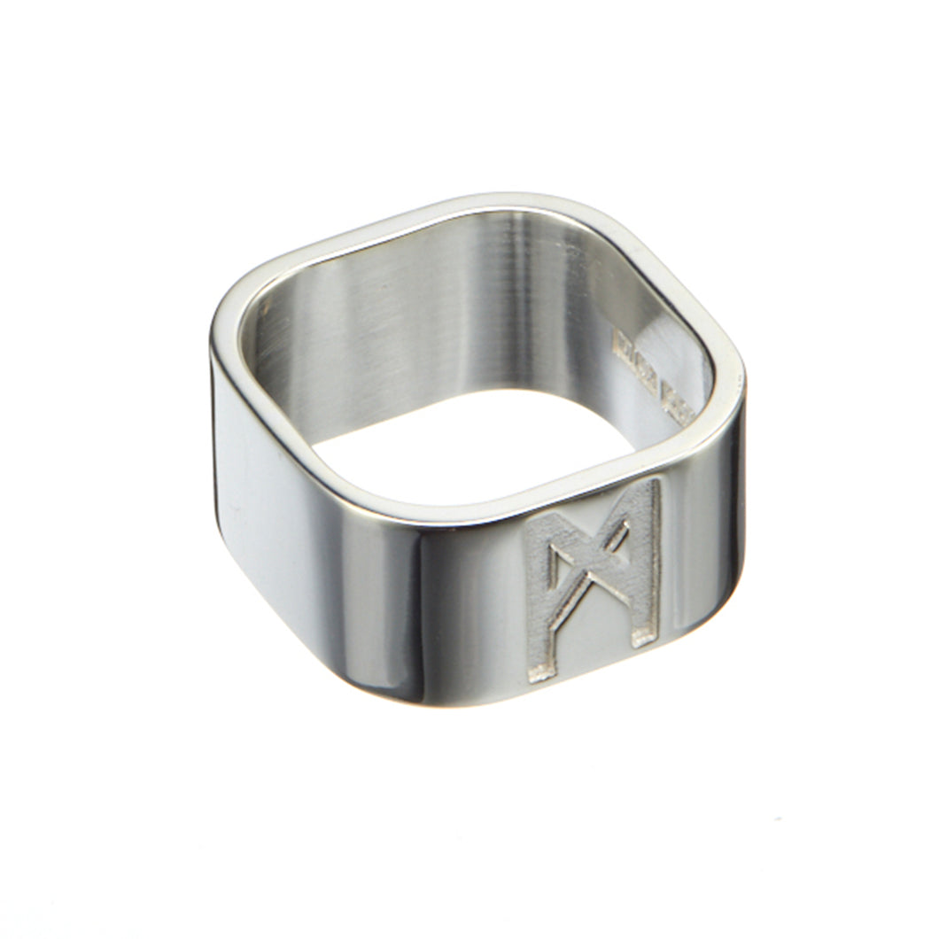 Signature Ring Mens Silver Polished