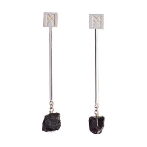 "The ""M"" Convertible Earrings Black tourmaline"
