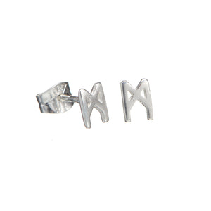Signature earrings polished silver 5mm