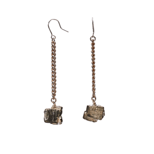 Keep Me Hanging Shiny Pyrite Earrings