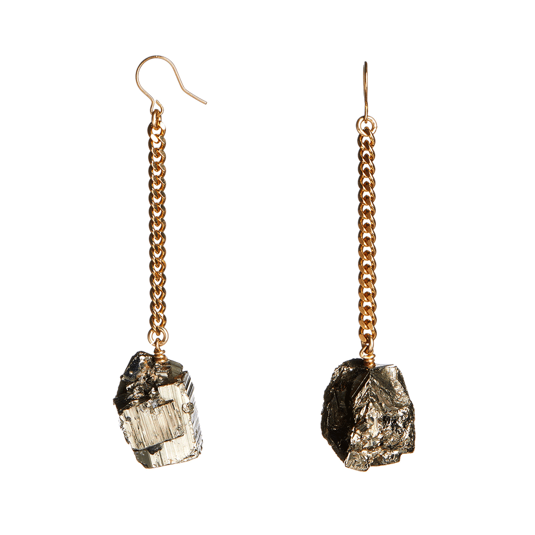 Keep Me Hanging Pyrite Crystal Earrings