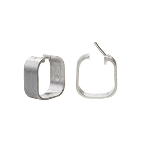 Signature Creole Earrings brushed silver