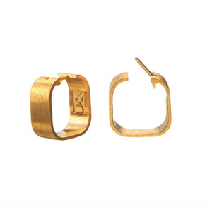 Signature Creole Earrings brushed gold