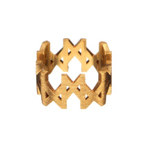 "Load image into Gallery viewer, ""MMM"" Ring Brushed Gold Vermeil"