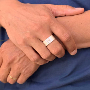 Signature Ring Mens Silver Brushed