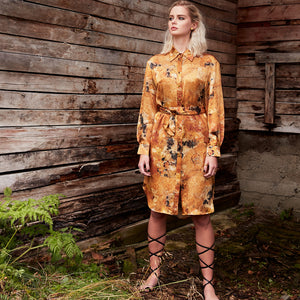 Carte Blanche yellow fluorite shirt dress