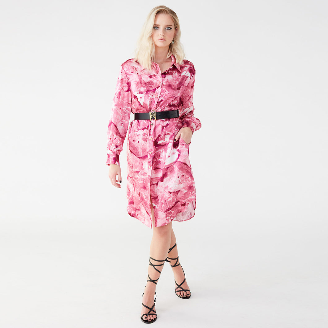Carte Blanche pink galena shirt dress