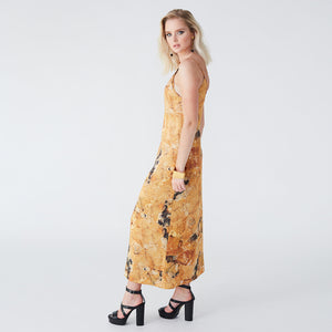 Pfeiffer yellow fluorite slip dress
