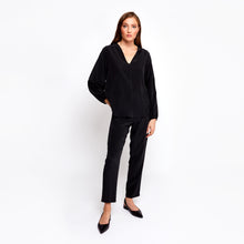 Load image into Gallery viewer, Farrah black batwing top
