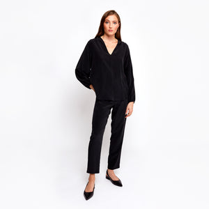 Farrah black batwing top