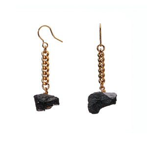 Keep Me Hanging Black Tourmaline Earrings Short